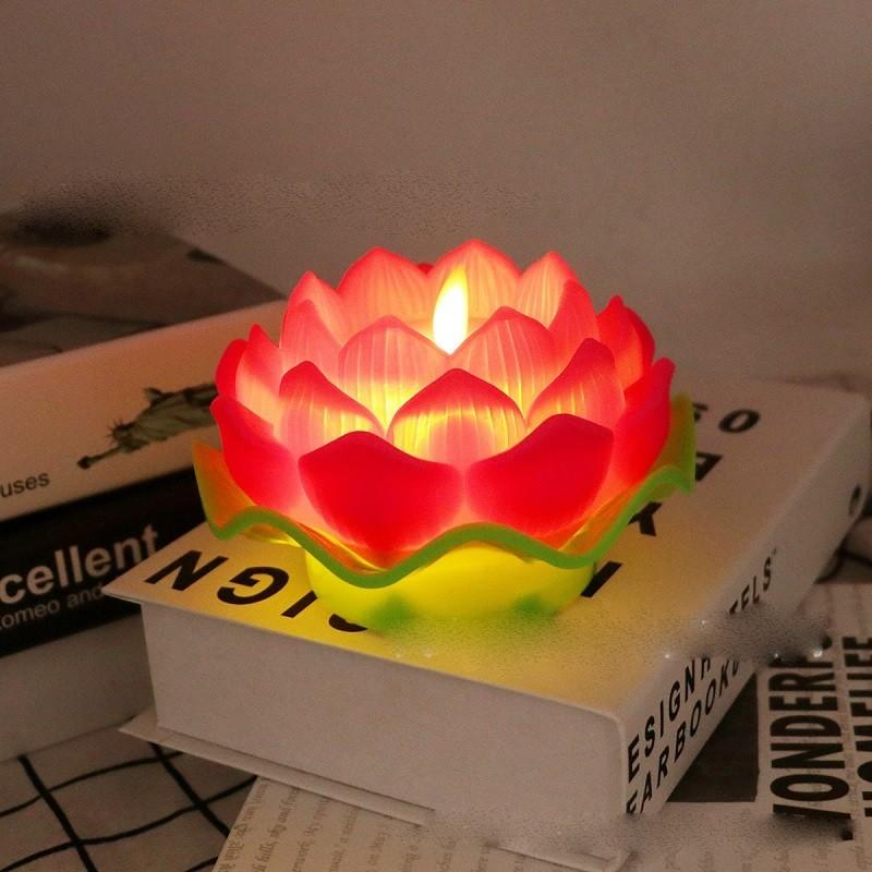 Mẫu nến điện tử hoa sen để bàn thờ