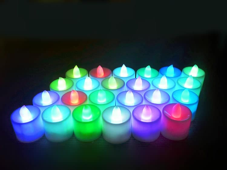 Nến tealight điện tử mini giá rẻ màu vàng đỏ, màu vàng ấm,màu xanh