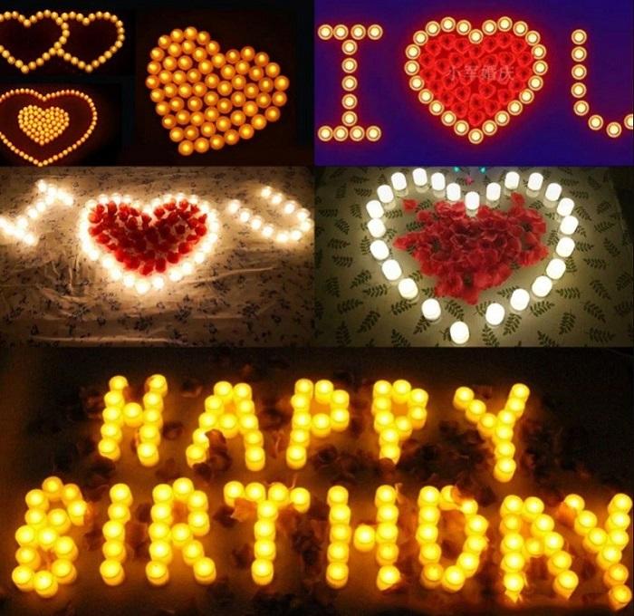 nến tealight điện tử xếp hình trái tim hay tổ chức sinh nhật đều phù hợp