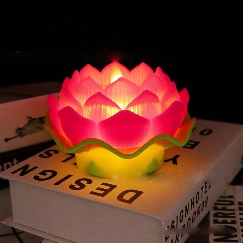Mẫu đèn thờ hoa sen màu đỏ rất đẹp